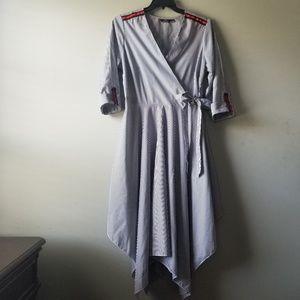 1994247eca7 Mlle Gabrielle Pinstripe Handkerchief Hem Dress 1X
